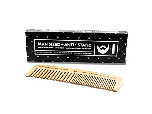 Beard Comb – One Piece Maple Construction – Ant-Static, No Snagging, Handmade with both Fine & Wide Tooth. Best Beard Comb for Beard & Mustache Facial Hair.