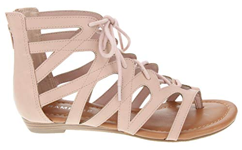 Rampage Women's Santini Cutout Lace-up Open Toe Ankle Strap Gladiator Sandal, Blush Textured Smooth, 8.5 M US