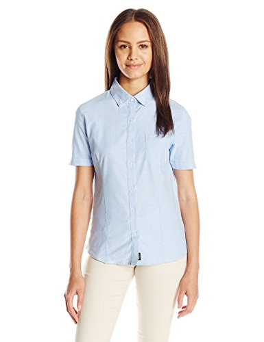 (Lee Uniforms Junior's Short Sleeve Stretch Oxford Blouse, Light Blue, Large)