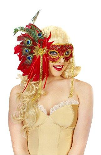 [Magik Costumes Women's Glitter Feather Mask OSFM Red] (Glitter Wigs)