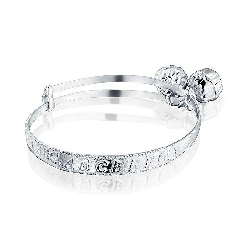 - Dainty Jingle Bells Alphabet Bangle Bracelet Wrists 6.5in 925 Sterling Silver Adjustable Bells Are Silver Plated