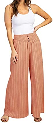 Cardigo Pregnant Womens Tight Height Waist Elastic Stripe Wide Leg Maternity Pants