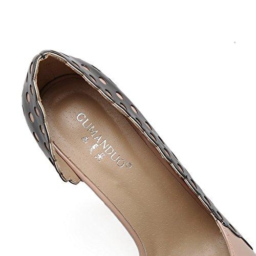 Spikes Stilettos Couleur Assortie Apricot Pumps Femmes AdeeSu Chaussures Dessus Découpes Bas Urethane Yf0Uwq