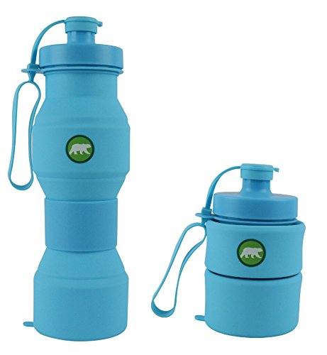 Press On Collapsible Water Bottle   For Sports And Travel   28 Ounces   Food Grade Silicone   Bpa Free