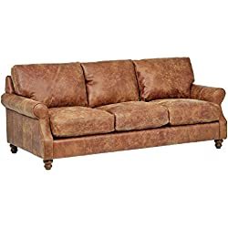 "Stone & Beam Charles Classic Oversized Leather Sofa, 92""W, Saddle Brown"