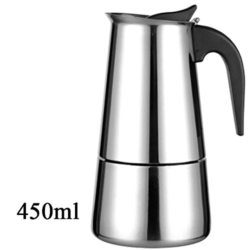 HuntGold 450ml Stove Top Espresso Coffee Maker Stainless Steel Moka Pot Extractor Valve Home Office