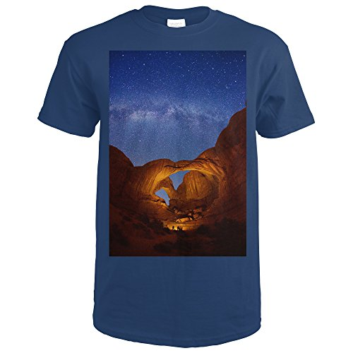 Double Arch, Arches National Park, Utah - Milky Way Stars (Navy Blue T-Shirt (Navy Blue Double Arch)