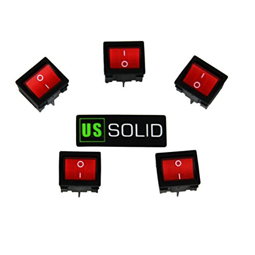 4 Pin Snap In Double Pole Single Throw Rectangle Rocker Latching ON/OFF Car/Boat Switch w/Red Light Head 24mm x 21mm ; 6A/ 12A 250V (5 Pack) from U.S. Solid