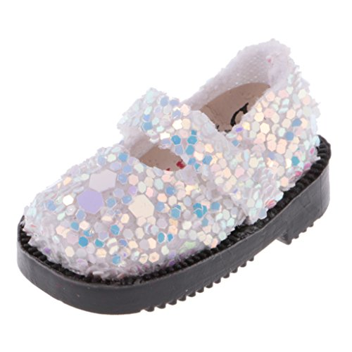 Jili Online 1.30.6'' Doll Shoes for Blythe Licca Jb Doll Mini Shoes for Barbie Doll Russian Doll Accessories 1/6 BJD White Sequins (Mini Blythe Doll)