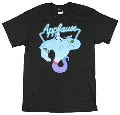 Disney Men's Aladdin Genie Applause Humor Graphic T-Shirt, Black, S