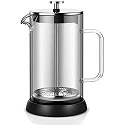 XXDMZ Glass French Press Coffee Maker,Home Cooking Follicle Type Milk Filter Glass Hand Coffee Pot,Unique Double Wall Design Brewer - Keeps Hot and Cold Longer, Single Layer Glass,1000ML