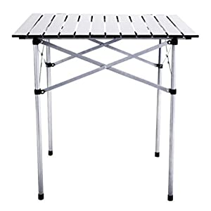 "28""x28"" Roll Up Table Camping Set Up Folding Small Portable Square Aluminum With Bag Picnic Beac"