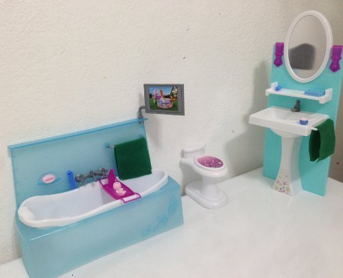 My Fancy Life Barbie Size Dollhouse Furniture, Bathing Fun with Bath Tub and Toilet Play Set