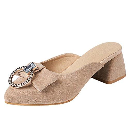 Carolbar Women's Elegant Charm Rhinestones Mid Heel Bow Sandals apricot iGc6QaGH