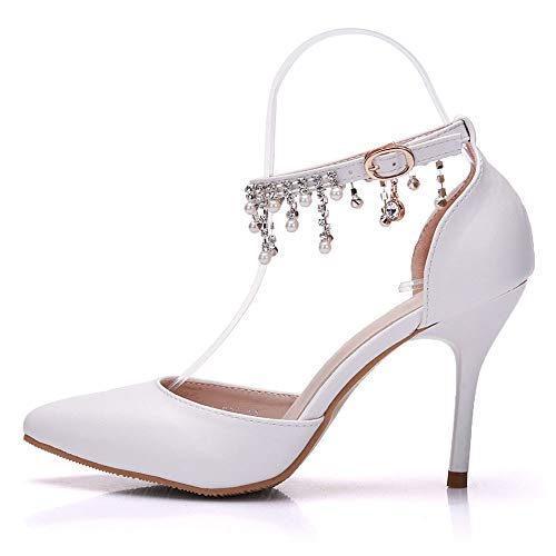 Donne Scarpe Alti Sandali Perle Tacchi Scarpe EU38 Da Sposa Moojm Sposa Da Punta Bianco Strass White wHqBw0