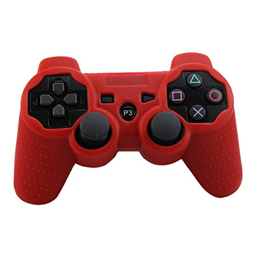 Alouflower Silicone Rubber Skin Grip Protective Cover Case For Playstation 3 PS3 Controller (Red)
