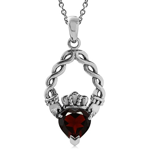 Silvershake 1.38ct. Natural Heart Shape Garnet 925 Sterling Silver Claddagh Pendant with 18 Inch Chain Necklace