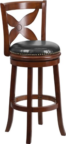 Flash Furniture 29'' High Cherry Wood Barstool with Black Leather Swivel Seat (29' High Swivel Seat)