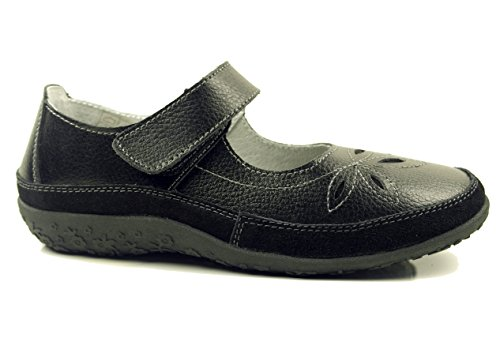 WOMENS LADIES BLACK LEATHER FLAT WEDGE COMFORT WORK OFFICE STRAP WALKING SHOES Vb30on7o