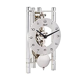 Hermle 23025X40721 Lakin Triangular Table Clock - Silver with an Arabic Glass Dial & Silver Pendulum