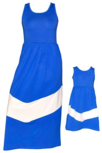Unique Baby Mommy and Me Matching Chevron Dress (Adult Small) Blue and White -