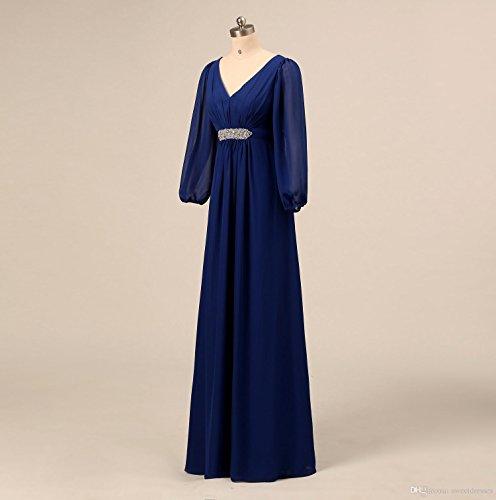 Les Perles En Mousseline De Soie De Femmes Dreamdress Manches Longues Col V Mère De Bleu Royal Robe De Mariée