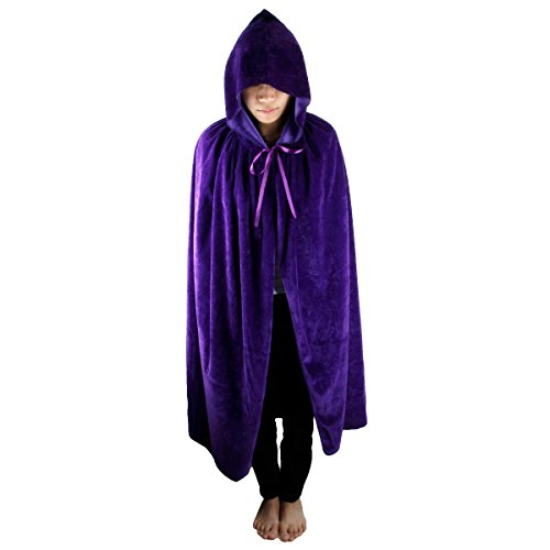 Samtree Christmas Halloween Costumes Cape for Kids,Velvet Hooded Cosplay Party Cloak (S(Length:23.6