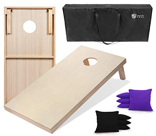 Tailgating Pros 4'x2' & 3'x2' Cornhole Boards w/Carrying Case & Set of 8 Cornhole Bags (You Pick Colors) 150+ Color Combos! (Black/Purple, 3'x2' Boards) ()