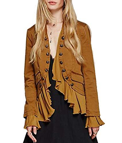 HaoDuoYi Womens Vintage Ruffle Lightweight Open Front Coat Cardigan Jacket(XXL,Yellow)