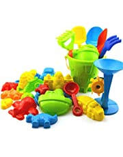 Molinte Beach Toy Set Kids Seaside Sand Castle Bucket Plastic Playing Sand Toy Set for Children Toddlers Random Color 25pcs