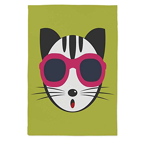 (TecBillion Animal No Fading Tablecloth,Cute Kitten Wearing Pink Sun Glasses Cool Modern Hipster Cat Fashion Fun Pets Art Print for Table Outdoor Picnic Holiday Dinner,60''W X 84''L)