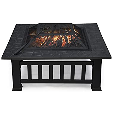 Yaheetech Outdoor Metal Firepit Backyard Patio Garden Square Stove Fire Pit Fire Bowl (32 )
