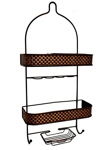 Basket Weave Large Oil Rubbed Bronze Bathroom Shower Organizer Hanging Caddy (New York Jets Hamper compare prices)