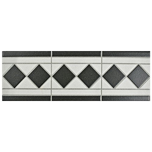 SomerTile FPEVNBL Vanidad Porcelain Listello Floor and Wall Trim, 4.25