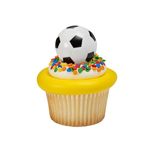 Sweetn Treats Soccer Ball Cupcake Topper Rings - Set of 6 -