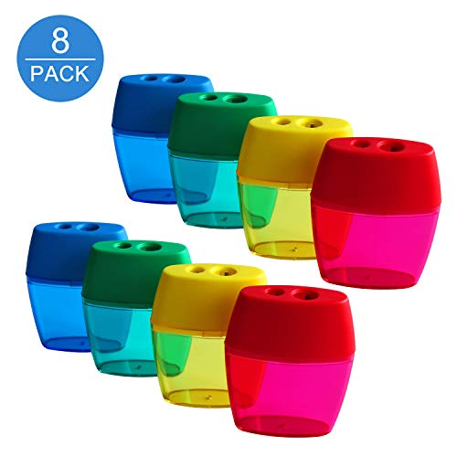 - Manual Pencil Sharpeners (8 Packs), Bestwin Portable Dual Hole Pencil Sharpeners for Regular & Oversize Pencils/Crayons, Great for School Home & Office