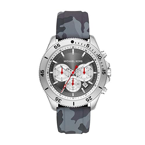 Michael Kors Men's Theroux Stainless Steel Quartz Watch with Silicone Strap, Gray, 22 (Model: MK8710) (Red Michael Kors Watch Men)