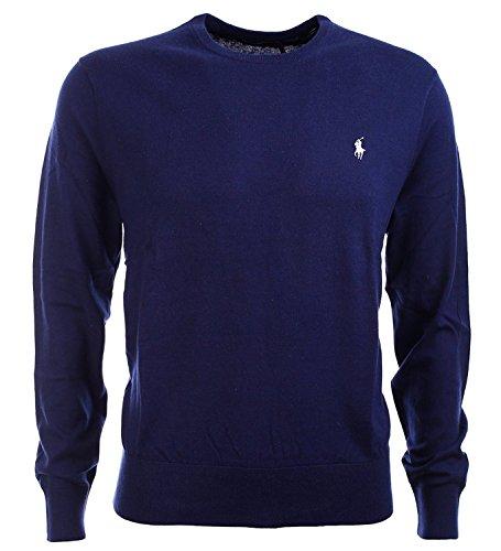 Mens Polo Cashmere Sweater (Polo Ralph Lauren Men's Cashmire Cotton Blend Pulover Crewneck Sweater, NAVY (XL))