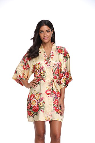 - KimonoDeals Women's dept Satin Short Floral Kimono Robe for Wedding Party, Yellow L