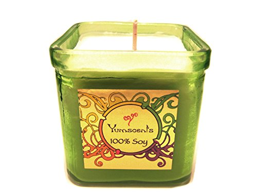 Yumscents Frankincense and Myrrh Soy Candle in Decorative Green Recycled Glass Container, 8-Ounce, Green