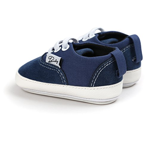 RVROVIC Baby Boys Girls Shoes Canvas Toddler Sneakers Anti-Slip Infant First Walkers 12Color (12cm (6-12months), Dark blue)