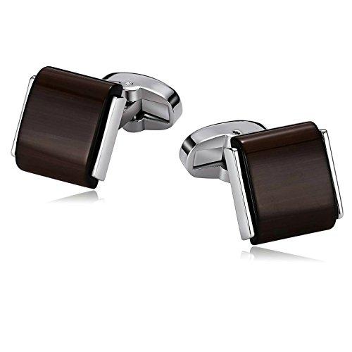 Aokarry 316L Stainless Steel Cufflinks for Men Square Brown Opal Silver Tone Dark Brown Men's Cuff Links (Brown Cufflinks Square Silver Sterling)