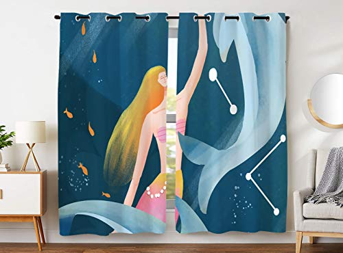 SXCHEN W54 x L84 Inch Darkening Blackout Curtains 2 Panels Grommet Curtains for Kids Bedroom Beautiful Mermaid Dolphins Fish Pisces ()