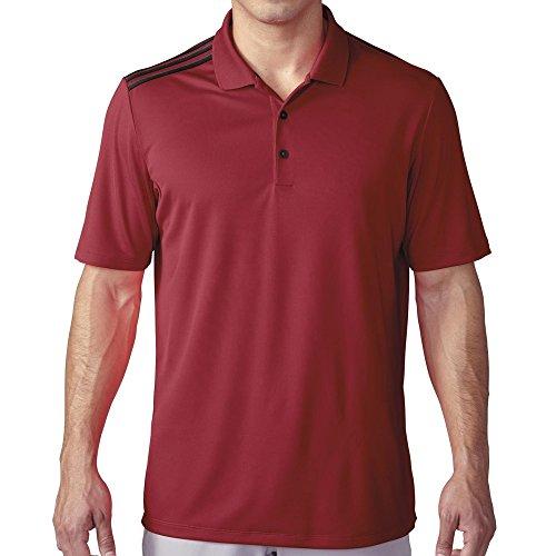 adidas Golf Men's Climacool 3-Stripes Polo Shirt, Power Red/Black, Small