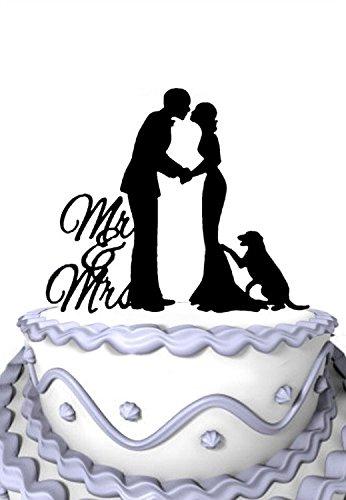 (Meijiafe Personalized Couple With Dog Silhouette Cursive Mr Mrs Wedding Decoration)