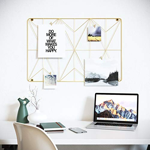 Cevillo Stylish Wire Metal Wall Grid Panel - Perfect as Photo Frame, Office Organization - Gold Multi-Functional Wall Storage Display (Gold | Rectangle)