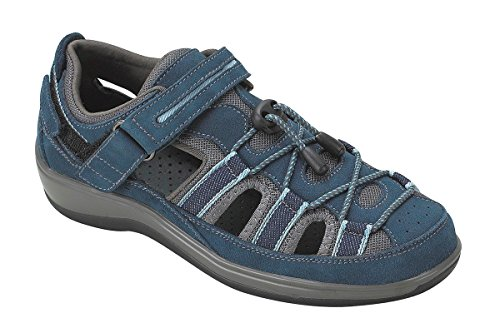 Orthofeet Naples Comfort Orthopedic Diabetic Plantar Fasciitis Womens Sandal Fisherman Blue Leather 9.5 XW US