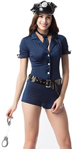 Modern current 1982 Halloween Sexy Costume Police Women Waist Belt Uniform Clothing Police Cospaly 3756-Blue-S]()