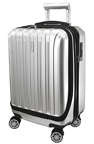 """Price comparison product image Vista Collection NY Luggage 20"""" Carry-on Expandable Spinner Trolley with pocket for computer (Silver)"""