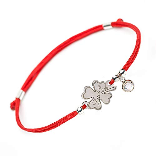 (Lucky Handmade Good Luck Bracelet - 4 Leaf Clover Flower Engraved Sterling Silver Charm - Adjustable Friendship Inspirational Red String Evil Eye Protection Bracelets for Girls Womens Kids (Lucky))